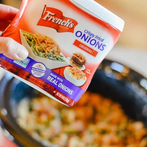 crockpot green bean casserole with bacon frenchs onions