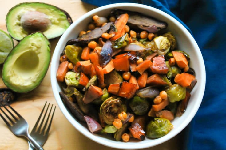 Brussels Sprout, Sweet Potato and Chickpea Sheet Pan Dinner