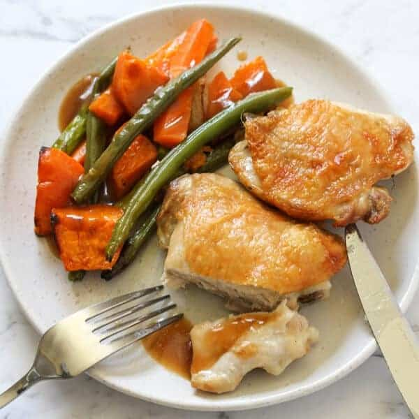 Sheet Pan Crispy Baked Chicken Thighs and Vegetables Recipe