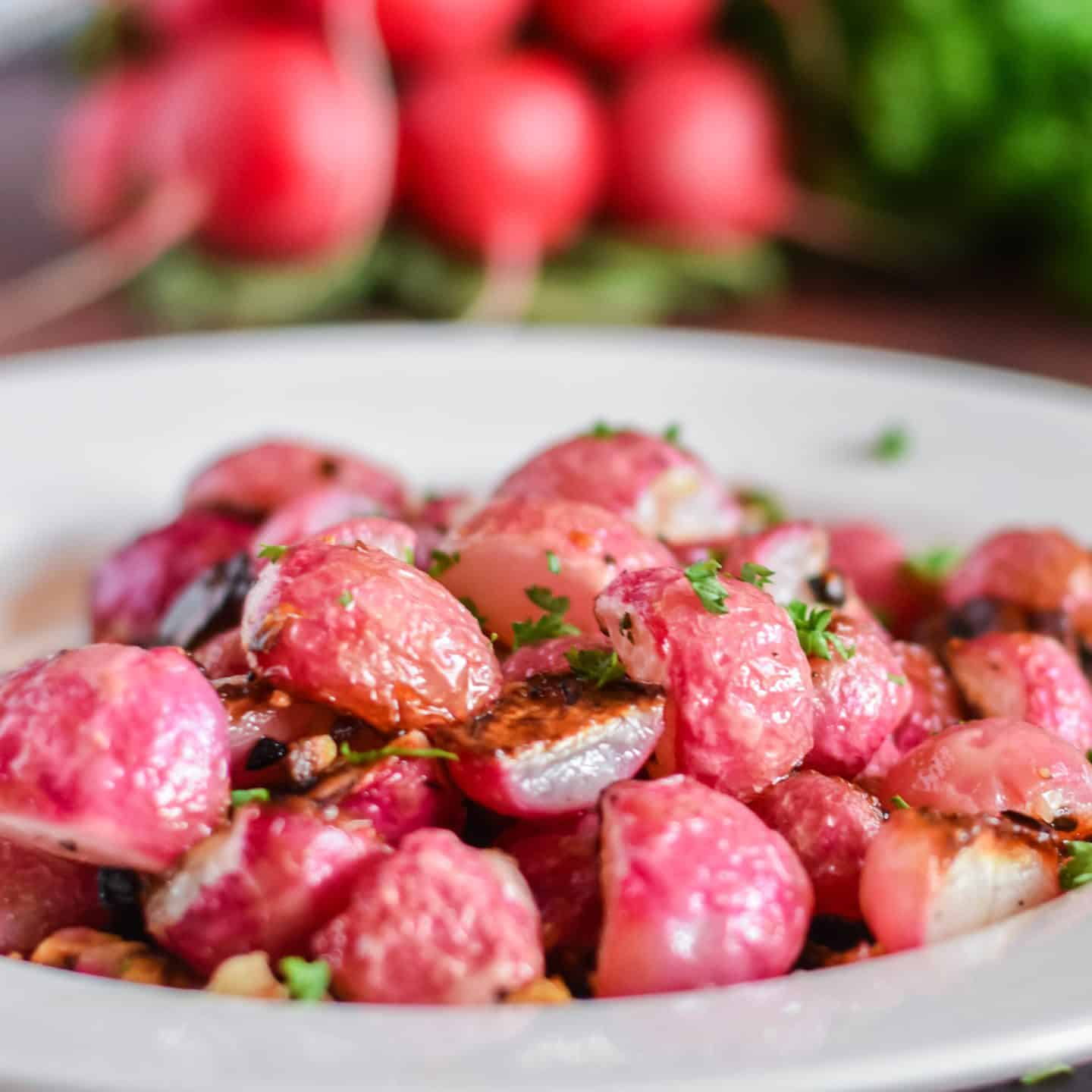 garlic roasted radishes