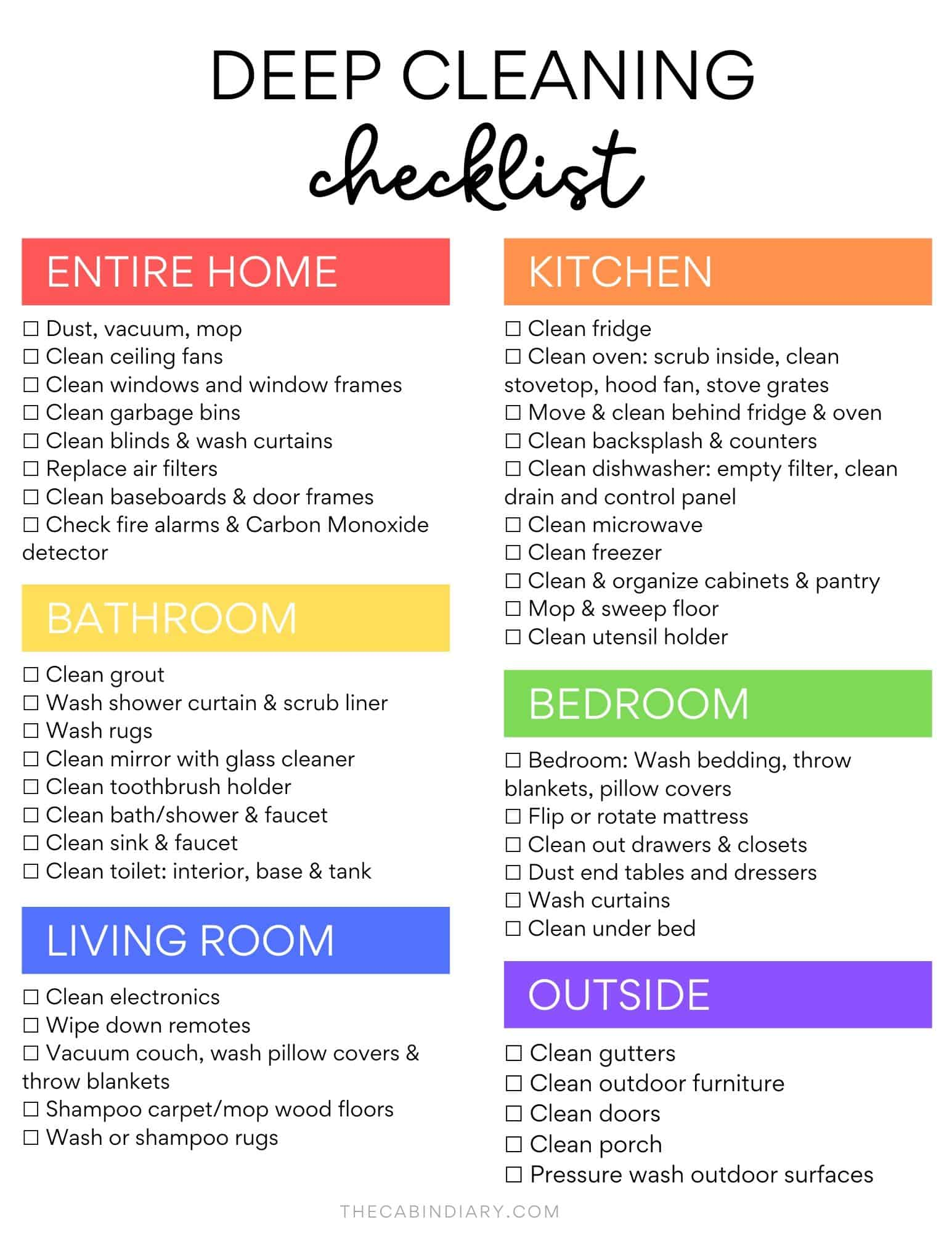 Ultimate Deep Cleaning Checklist Room By Room Printable