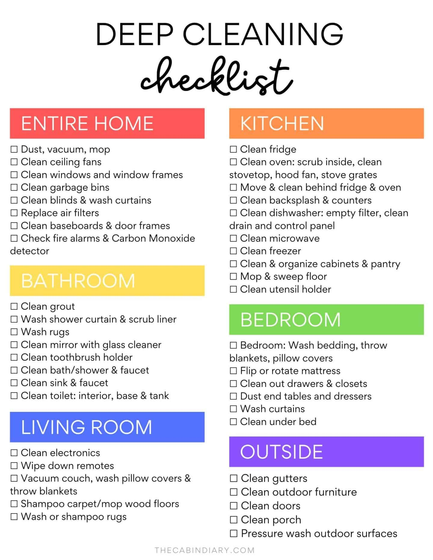 Ultimate Deep Cleaning Checklist + ROOM BY ROOM PRINTABLE